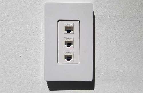 Network outlet in the wall