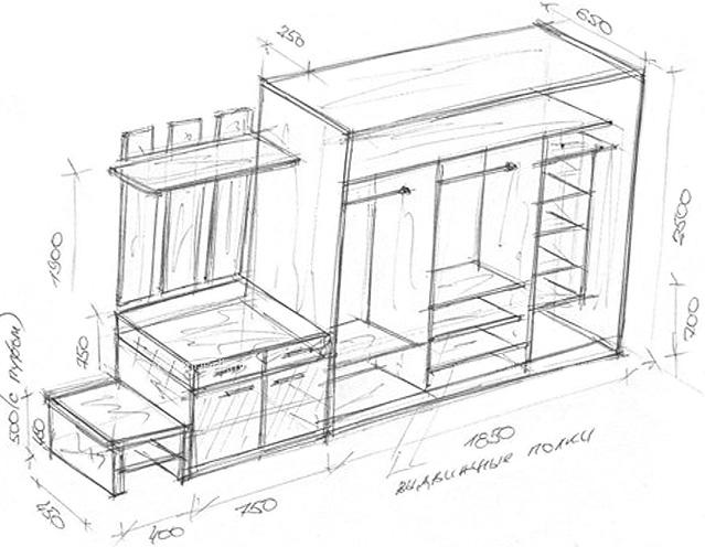 Схема шкаф-купе в прихожую