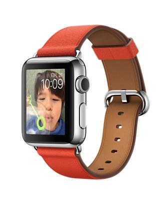Apple Watch, нержавеющая сталь, ремешок красного цвета с классической пряжкой