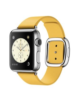 Apple Watch, нержавеющая сталь, ремешок цвета «весенняя мимоза» с современной пряжкой