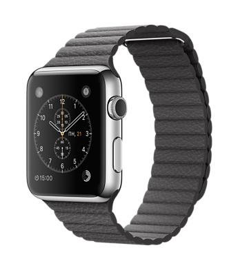 Apple Watch, нержавеющая сталь, кожаный ремешок цвета «грозовое небо»
