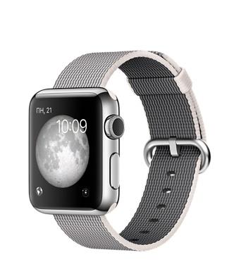 Apple Watch, нержавеющая сталь, ремешок из плетёного нейлона жемчужного цвета