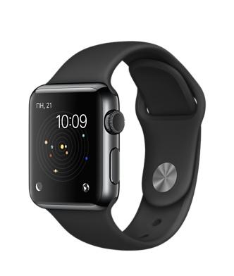 Apple Watch, нержавеющая сталь цвета «чёрный космос», спортивный ремешок чёрного цвета
