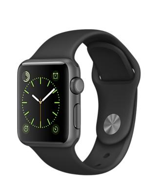 Apple Watch Sport, алюминиевый цвет «серый космос», спортивный ремешок чёрного цвета