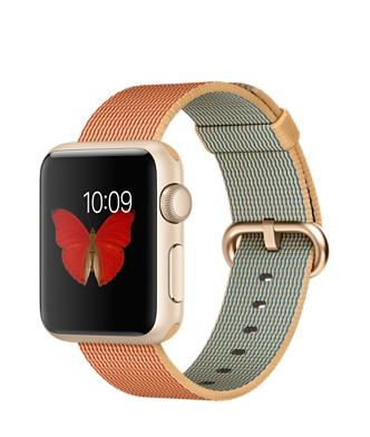 Apple Watch Sport, золотистый алюминий, ремешок из плетёного нейлона цвета «золотистый/красный»