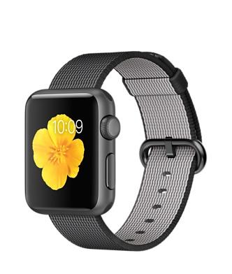 Apple Watch Sport, алюминий цвета «серый космос», ремешок из плетёного нейлона чёрного цвета