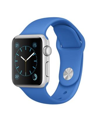 Apple Watch Sport, серебристый алюминий, спортивный ремешок цвета «кобальт»