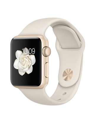 Apple Watch Sport, золотистый алюминий, спортивный ремешок мраморно-белого цвета