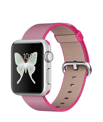 Apple Watch Sport, серебристый алюминий, ремешок из плетёного нейлона розового цвета