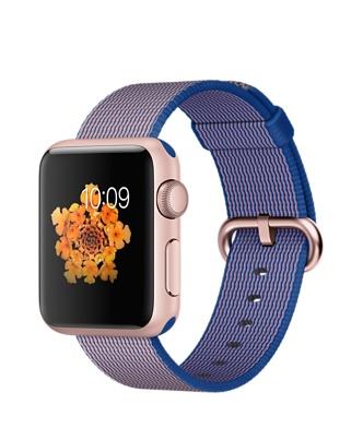 Apple Watch Sport, алюминий цвета «розовое золото», ремешок из плетёного нейлона цвета «кобальт»