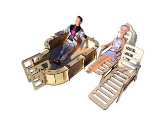 """Мебель для Барби Дома """"Бассейн с шезлонгами"""""""