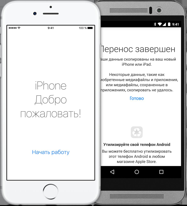 Перенос данных с андройд на айфон
