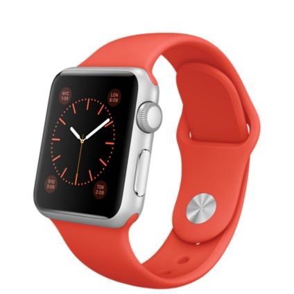 Apple Watch Sport 38mm Silver with Orange Sport Band (MLCF2), Эппл Вотч Спорт 38мм Алюминевые с оранжевым спортивным ремешком (MLCF2)