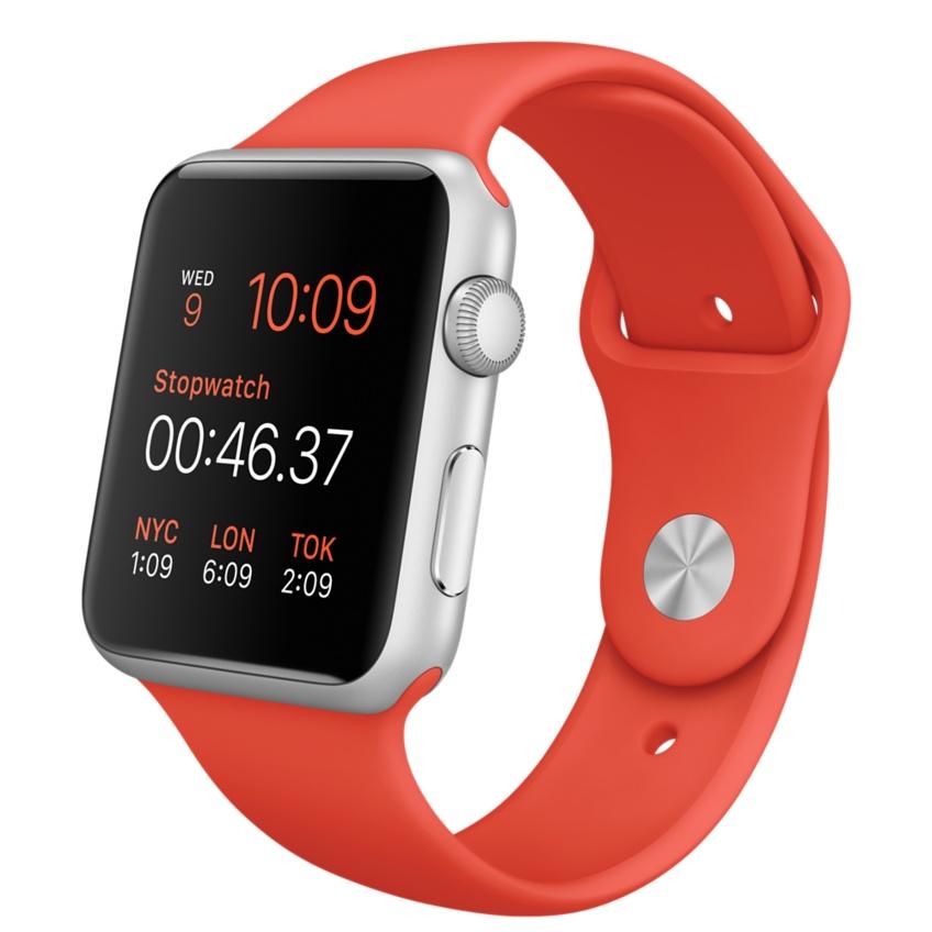 Apple Watch Sport 42mm Silver with Orange Sport Band (MLC42), купить Эппл Вотч Спорт 42мм Алюминевые с оранжевым спортивным ремешком (MLC42)
