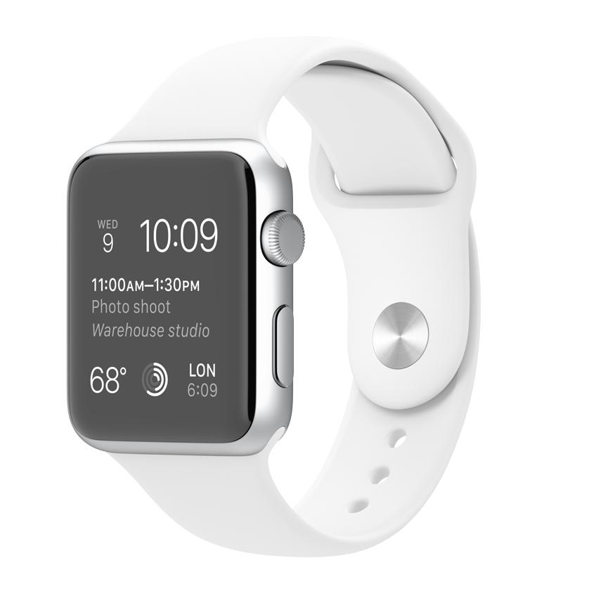 Apple Watch Sport 42mm Silver with White Sport Band (MJ3N2), купить Эппл Вотч Спорт 42мм Алюминевые с белым спортивным ремешком (MJ3N2)