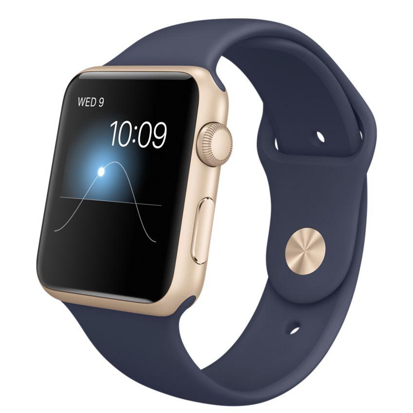 Apple Watch Sport 42mm Gold with Midnight Blue Sport Band (MLC72), Эппл Вотч Спорт 42мм Золотые с спортивным ремешком (MLC72)