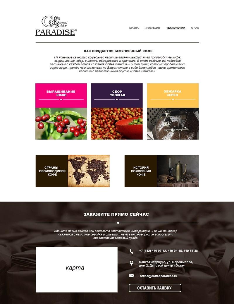 Сайт по продаже кофе - внутренняя
