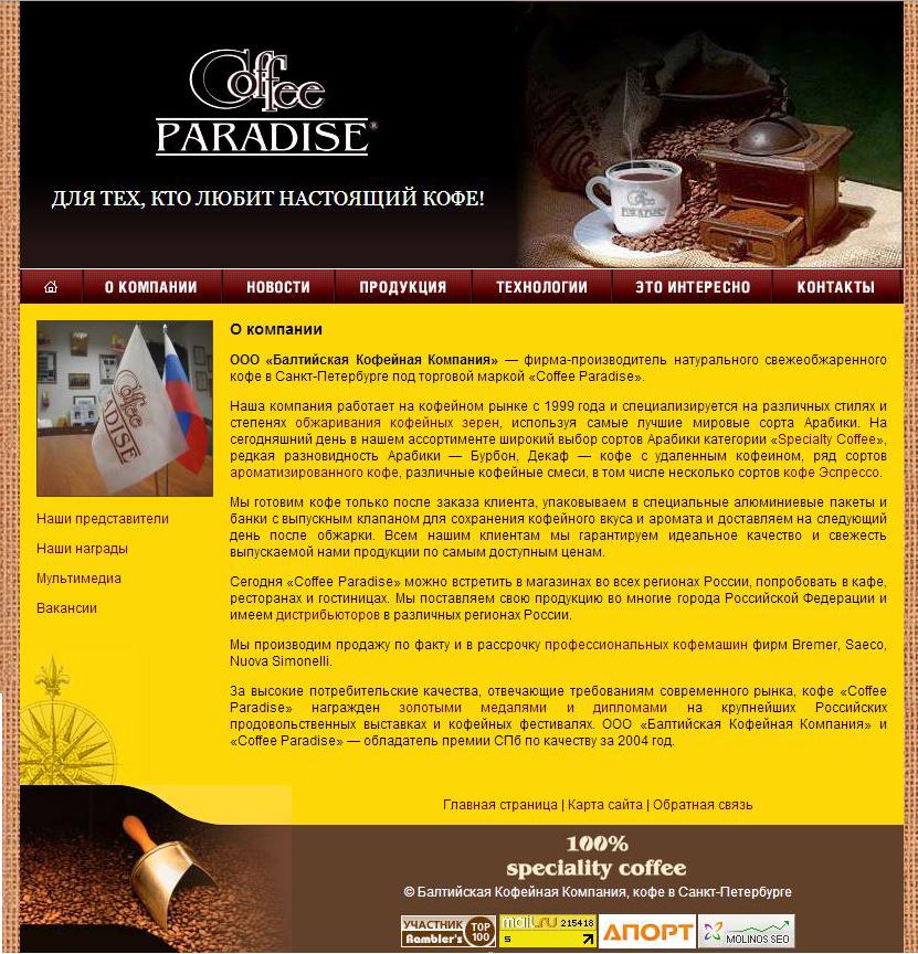 Создание сайта по продаже кофе