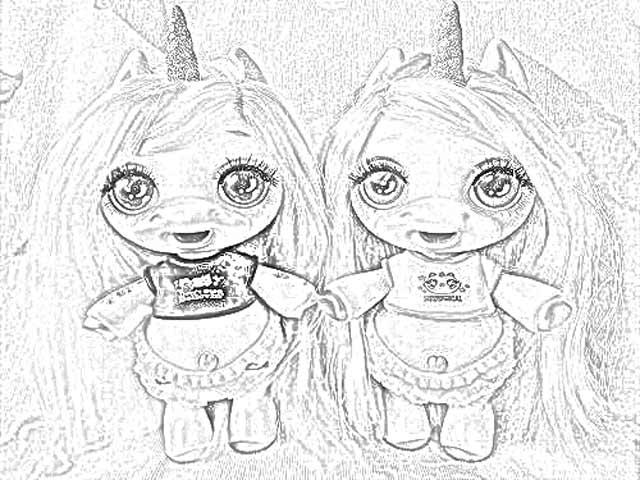 раскраска Poopsie Surprise Unicorn и Poopsie Sparkly