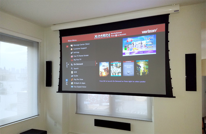 Our installation in New Jercey. Home theater with Vutec projection screen and Kef onwall speakers.