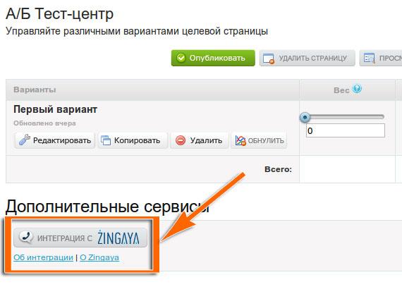 Авторизация в Zingaya через Тест-центр LPgenerator