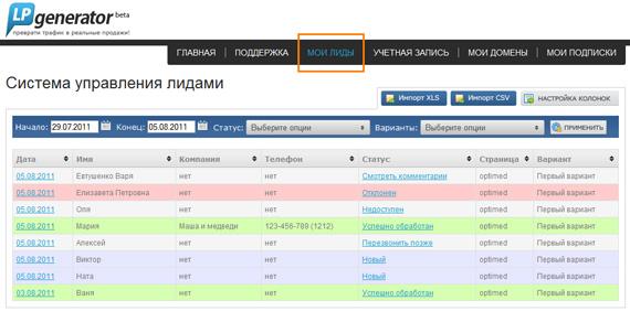 Система управления лидами (Leads CRM) от LPgenerator