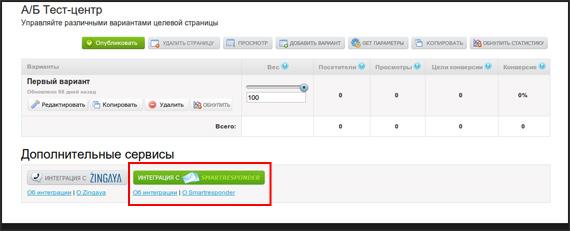 Интеграция со SmartResponder активна для текущей целевой страницы