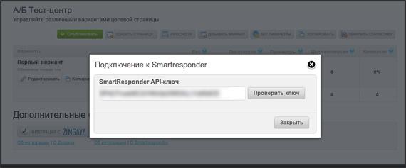Добавление API ключа сервиса SmartResponder к целевой странице