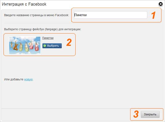 Введите название и выберите фан-страницу Facebook
