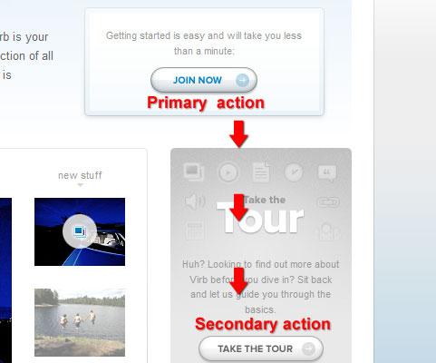 азмещение вторичного CTA-элемента под главной кнопкой призыва к действию
