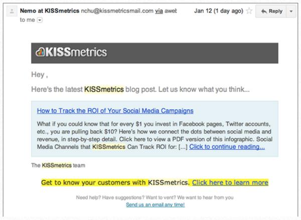 сообщения KISSmetrics