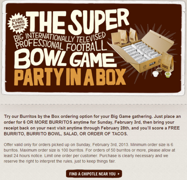 акция Chipotle <nobr>Burritos by the Box</nobr>