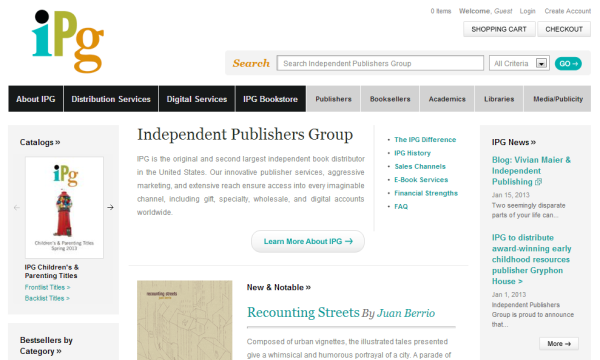 Навигация сайта Independent Publishers Group