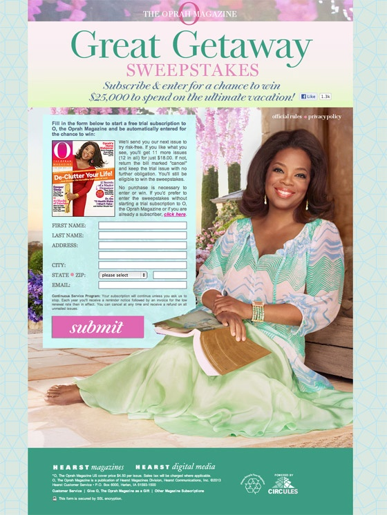 Oprah Sweepstakes