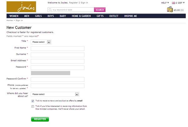 Простая форма регистрации