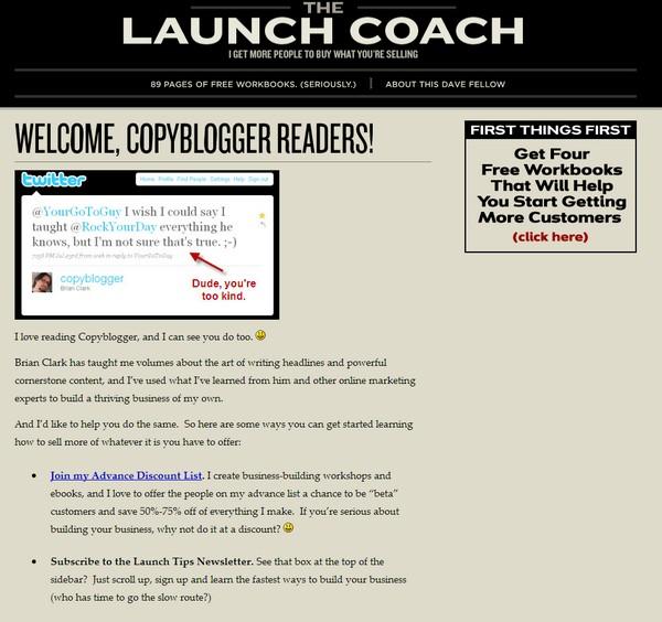 Лендинг для читателей блогов