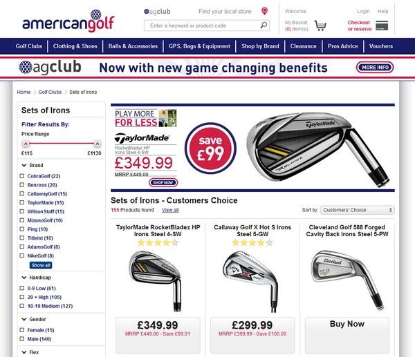 American Golf: хороший UI и плохой UX
