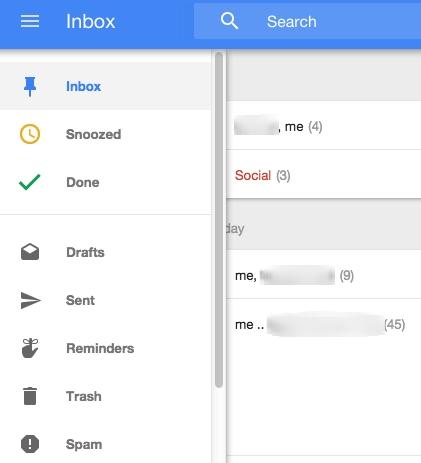 Входящие письма в приложении Gmail