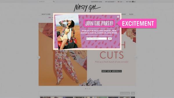 веб-сайт компании Nasty Gal
