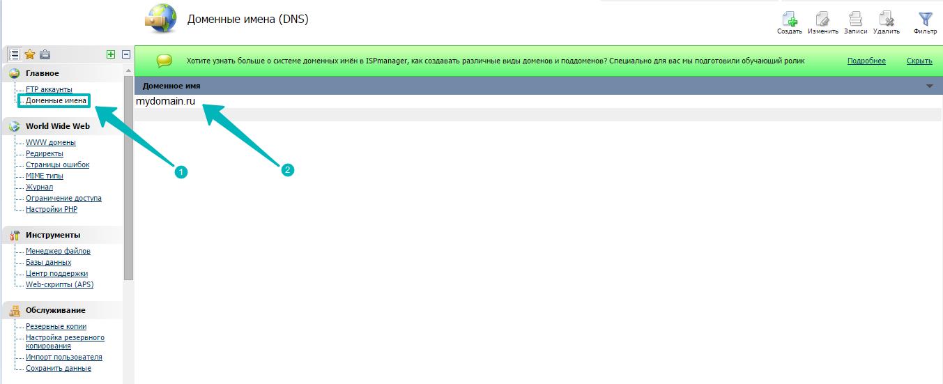 Иллюстрация к статье: Привязка домена и поддомена на хостинге (в панели ISP manager)