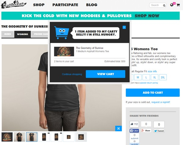 product page компании Threadless