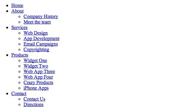 Список меню
