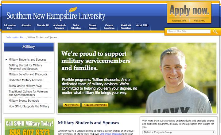 Сайт Университета Южного Нью-Гемпшира