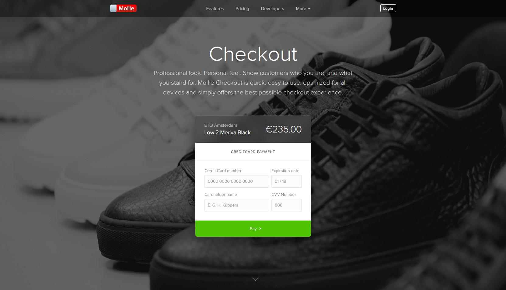 6. Mollie Checkout. Стильная система для eCommerce