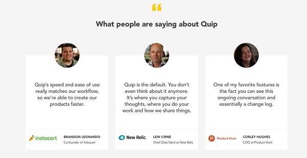 Целевая страница Quip
