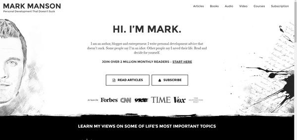 Страница Марка Менсона: Привет, я — Марк