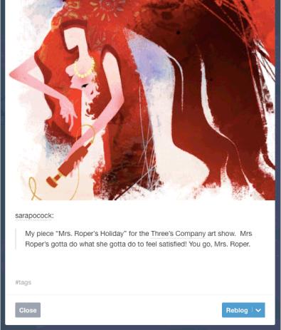 Кнопка «Реблог» в Tumblr