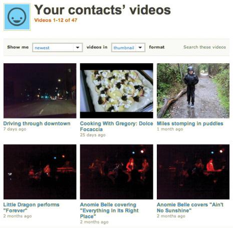 последние загруженные ролики контактов пользователя на Vimeo