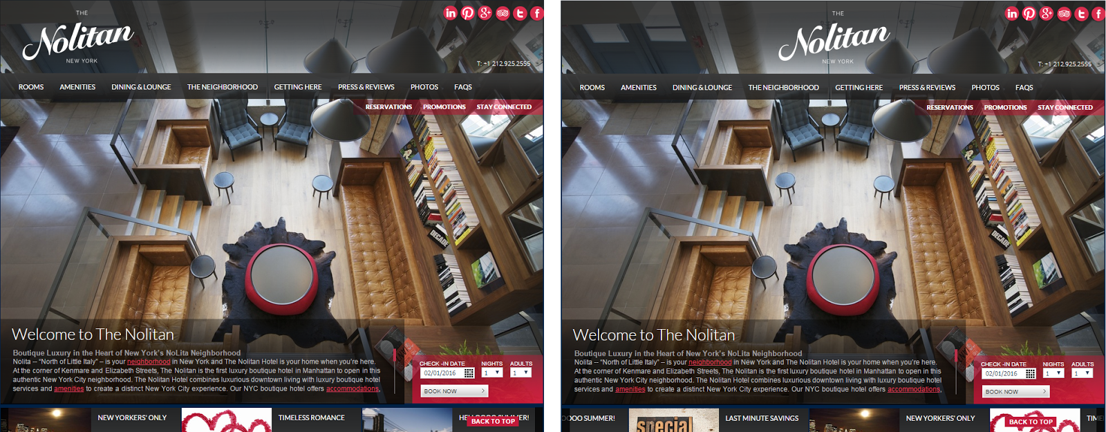 Реальный сайт отеля Nolitan (справа), который имеет центрированный логотип, с альтернативной версией, где логотип расположили в верхнем левом углу (слева).