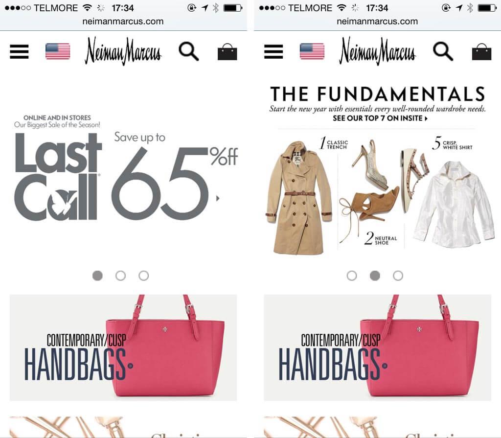 Сайт магазина Neiman Marcus